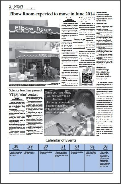 The news section -- page 2 of the August 28, 2013 issue of Talon Marks.