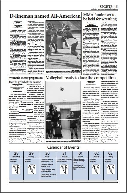 The sports section -- page 5 of the August 28, 2013 issue of Talon Marks.