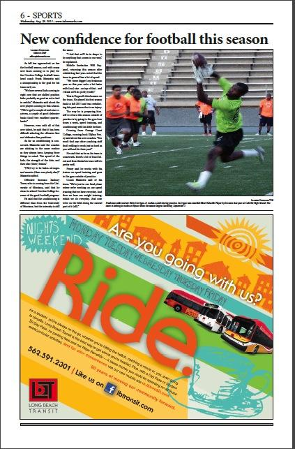 The sports section -- page 6 of the August 28, 2013 issue of Talon Marks.