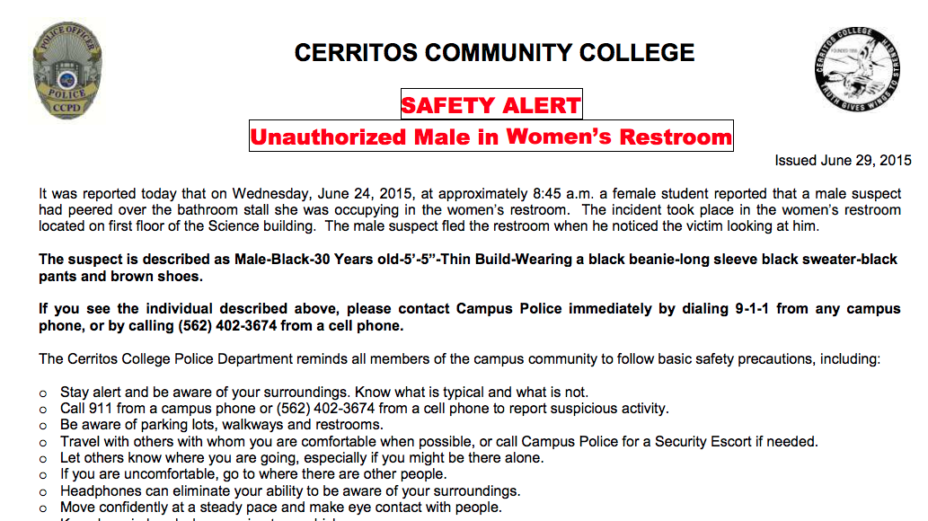 Male suspect peers over women's bathroom in science building