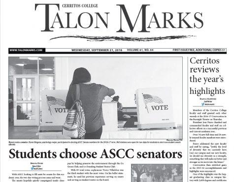 Talon Marks: Sept. 21, 2016 Volume 61, Issue 04