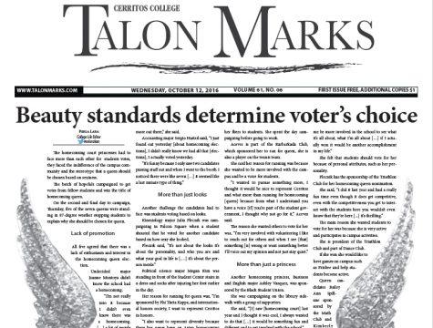 Talon Marks: Oct. 12, 2016 Volume 61, Issue 06