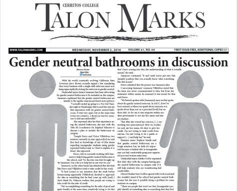 Talon Marks: Nov. 2 , 2016 Volume 61, Issue 09