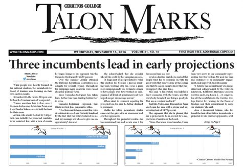 Talon Marks: Nov. 16 , 2016 Volume 61, Issue 10