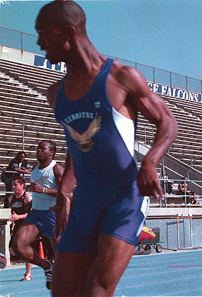 Charles Allgood, pictured here in an earlier meet, fell short of qualifying for the Southern California prelims when he finished eighth in the 100 meters with a time of 11.19.