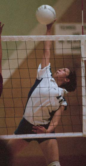 REACHING UP - Arelyn Gallardo spikes the ball over the net against Mt. San Antonio College