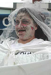 Lydia Coppla as the dead bride looking for an O-positive husband.