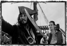 Captain Jack Sparrow (Johnny Depp) and Will Turner (Orlando Bloom) must join forces to recapture Sparrow´s ship, the Black Pearl.