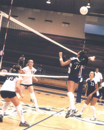 No. 18 Kimberly Robles hiting the ball in the Falcon´s win against Mt. SAC a week earlier