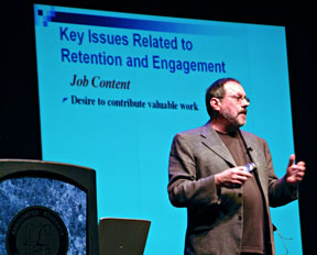 Futurist Jay Jamrog speaks to Cerritos students, faculty and staff about common changes in the workforce within each generation gap.