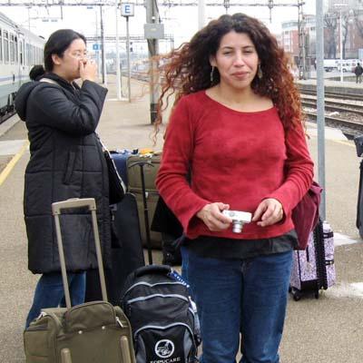 Sue Shin, instructional aide, and Crystal Pintado, child development instructor, arrive in Reggio Emilia, Italy.