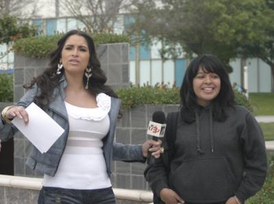 MTV3 host Jazmin Lopez pauses before starting an interview.