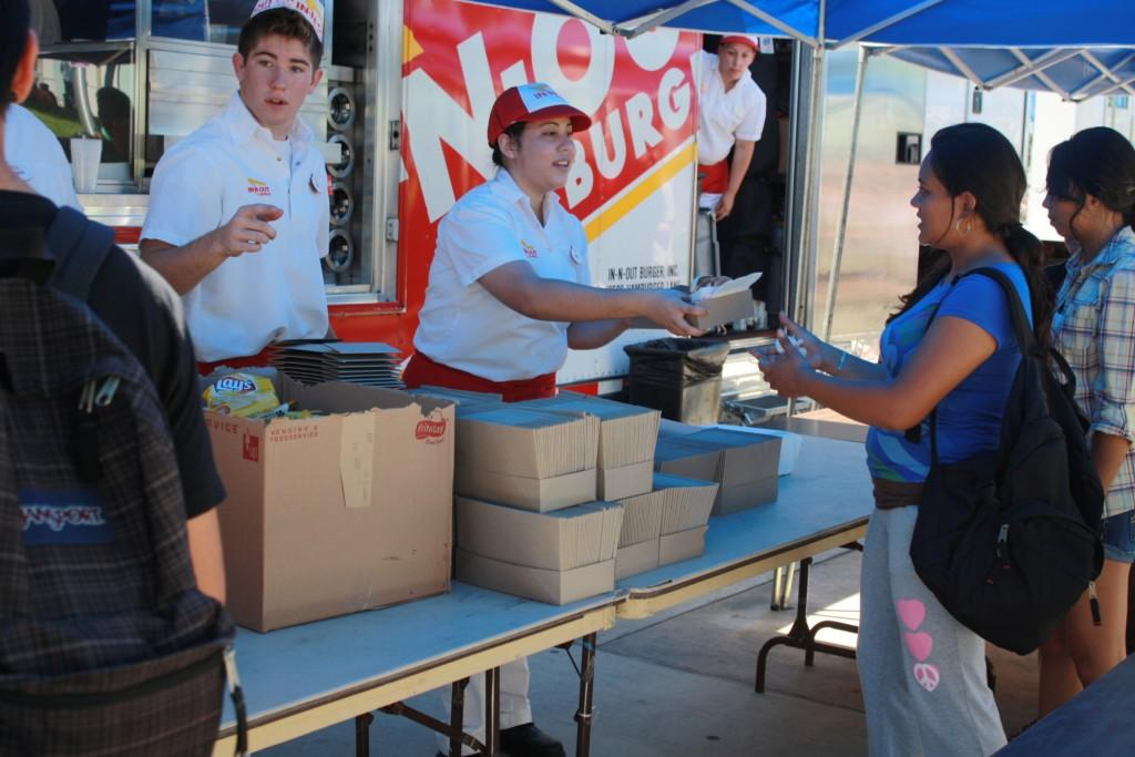 Cerritos College students receives free food from In-N-Out  during Welcome Day.