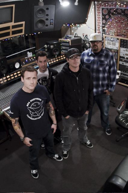 Pennywise stop to take a picture in the studio while they work on their new album. Guitarist Fletcher Dragge gave Cerritos College WPMD's radioi show