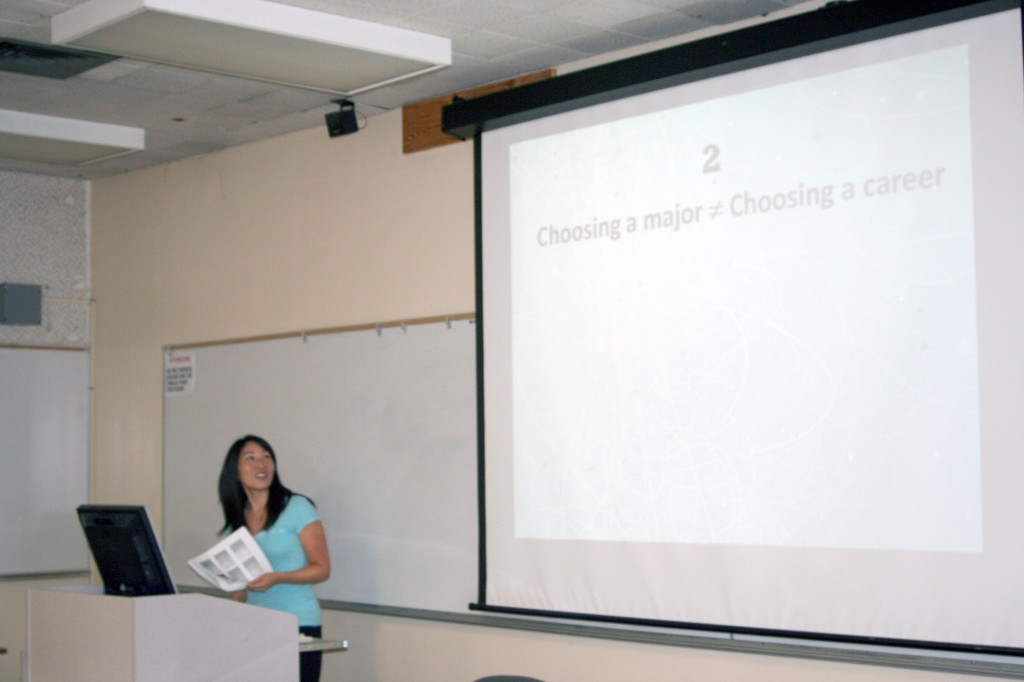 Career Services Counselor Traci Ukita delivered a presentation on choosing the right major for students. Only three students attended the event, but several more are projected to attend the following one on Sept. 30