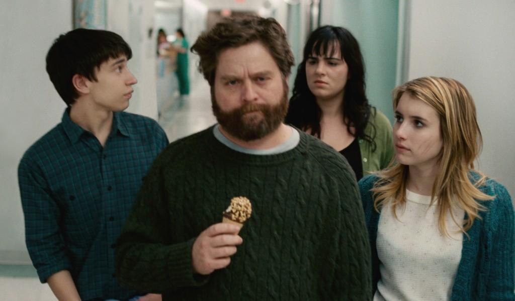 Keir Gilchrist, far left, Zach Galifianakis, center, and Emma Roberts, far right star in