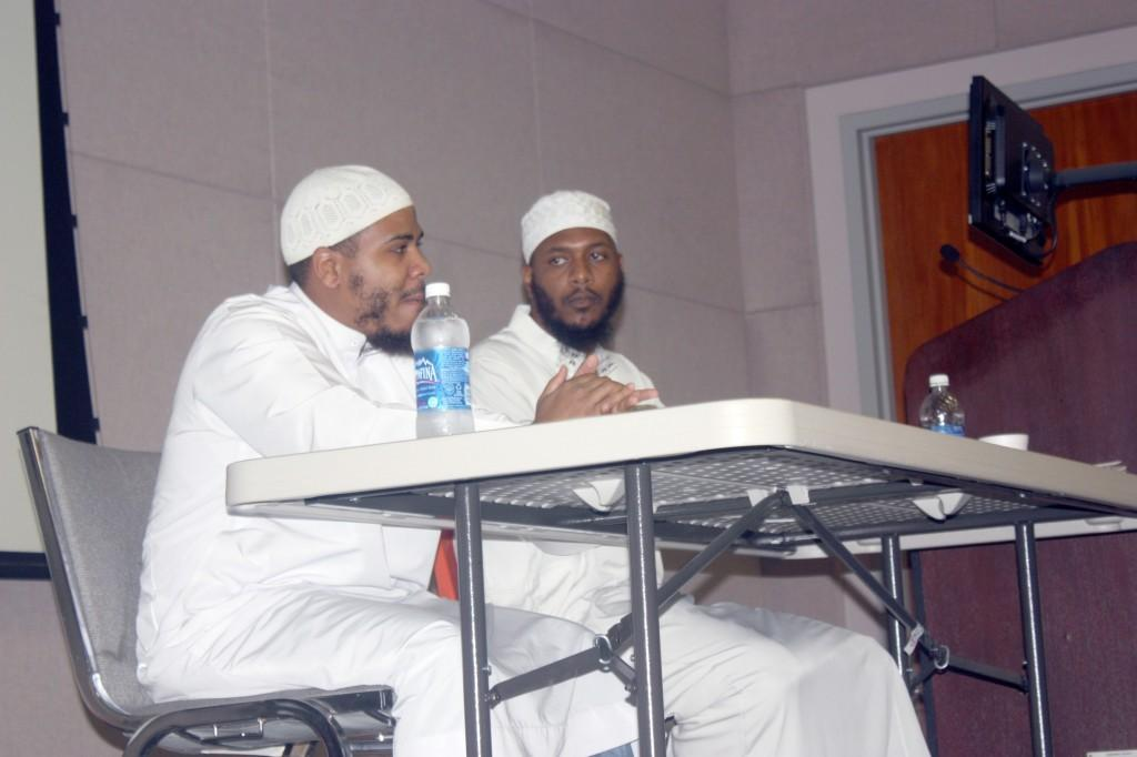 Former rapper, now converted Muslim Mutah Beale (left) and Najeeb Al-Angeles (right) discussed the details of their religion to students on Sept. 29. Topics Beale discussed included his childhood, his rap career and his conversion to Islam.