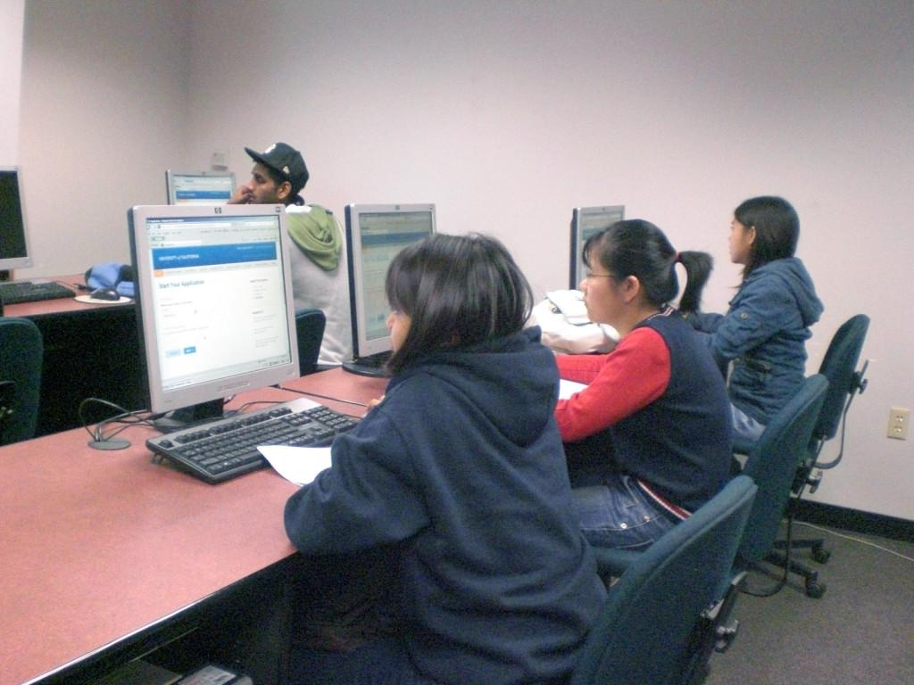 Students like undecided major Grace Ginto worked on a mock UC application to prepare them for the transfer process.