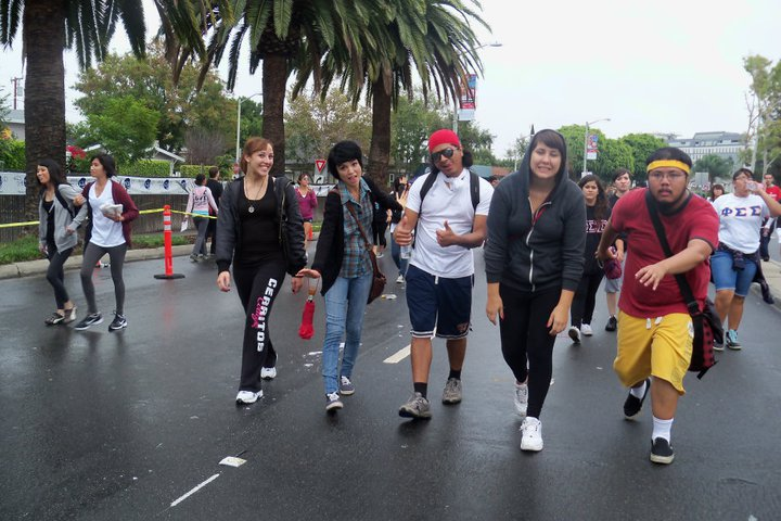 Members of the Library Club take part in the Downtown Los Angeles AIDS Walk. The club's members used the activity as a way to bond with each other