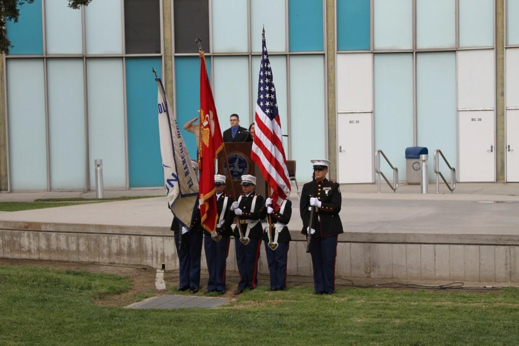 Cadets from the El Rancho High School ROTC program stand at attention during the flag salute at the 3rd Annual Veterans Day Celebration. It was the first time participants of the El Rancho High School ROTC program were invited to attend the event.