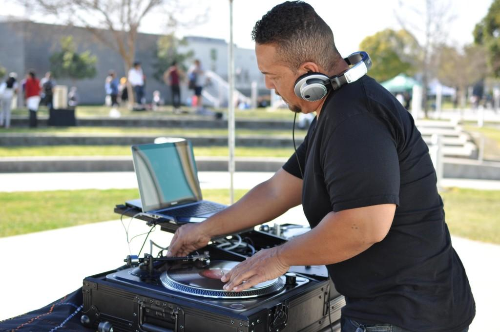 Bryon Espinosa, also known as DJ B1, spins music in Falcon Square on Valentine's Day. The DJ was on campus from 11 a.m. to 1