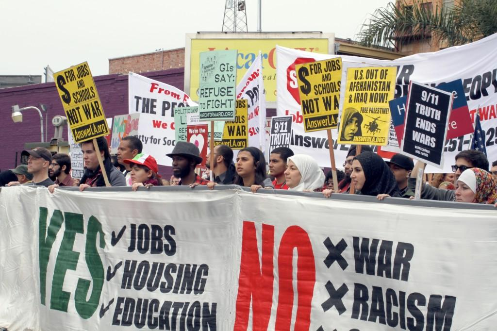 Anti-war protest fills L.A. streets