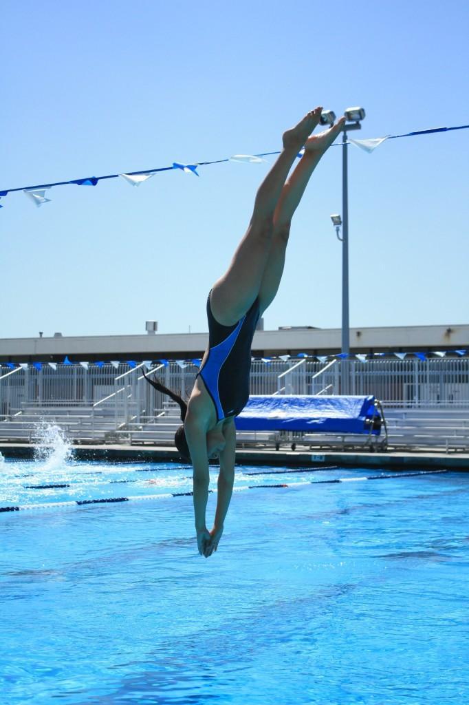 Freshman diver Maleno Van Zitter practices before her next meet. Van Zitter also swims in the California Science Center.