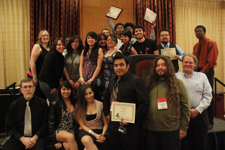 Members of the Talon Marks staff display their individual awards at the 2011 Journalism Association of Community Colleges' State Conference held in Sacramento, Calif.
