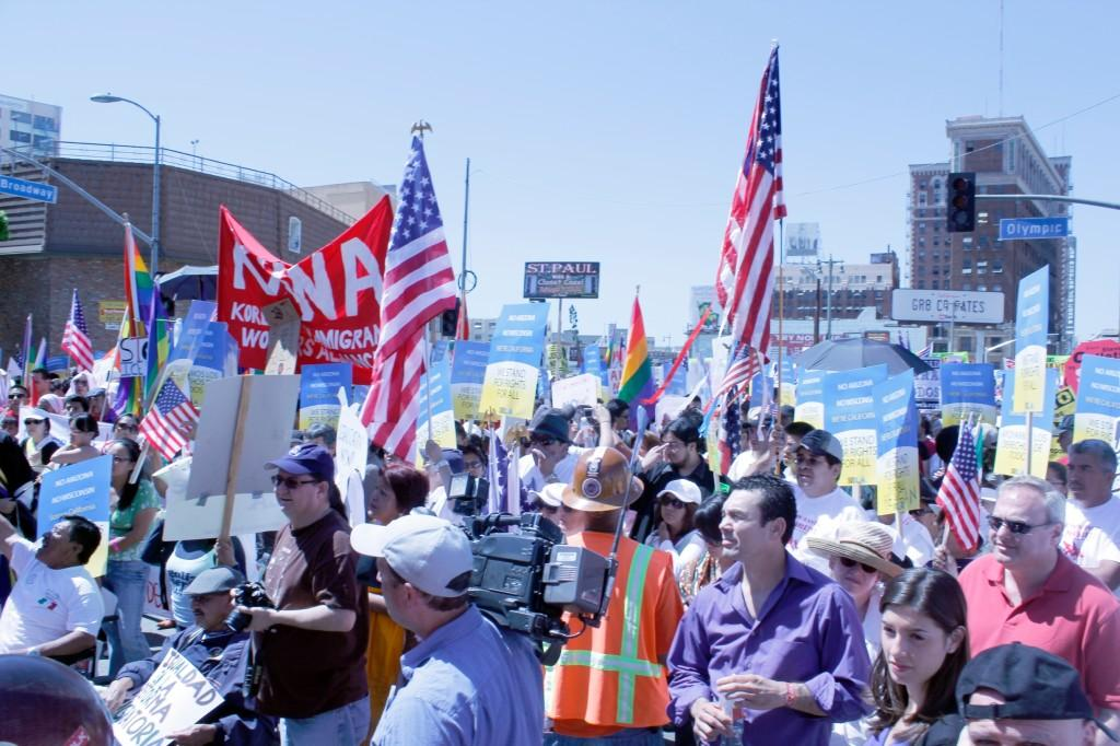 Thousands flocked to the streets of Los Angeles to protest in favor of reform of immigration laws