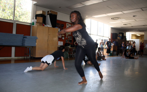 Dance major Areal Hughes practicing at the Dance Studio in the Fine Arts Building. Hughes was elected last year as Cerritos College's first ever female African-American student member of the Board of Trustees.