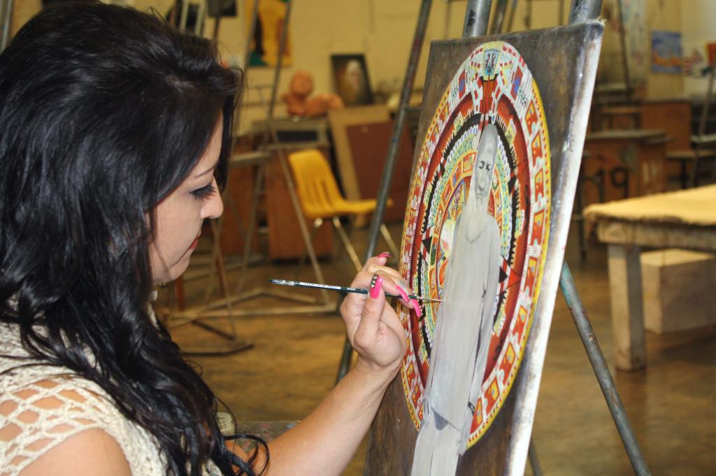 Sociology major Michelle Cody started as a beginner in painting before progressing to intermediate this semester. Cody's Native American roots is the main depiction in her art.