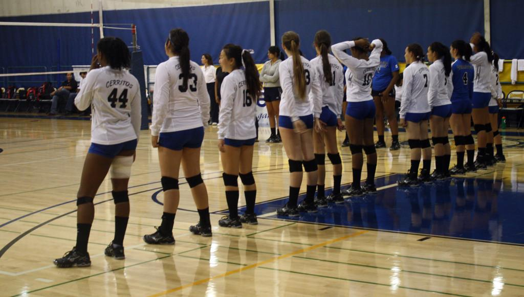 The Cerritos College volleyball team went up two sets against Santa Ana College and went on to be victorious in the match, with a new line-up and freshman Andrea Garrett replacing injured sophomore Amber Finley.