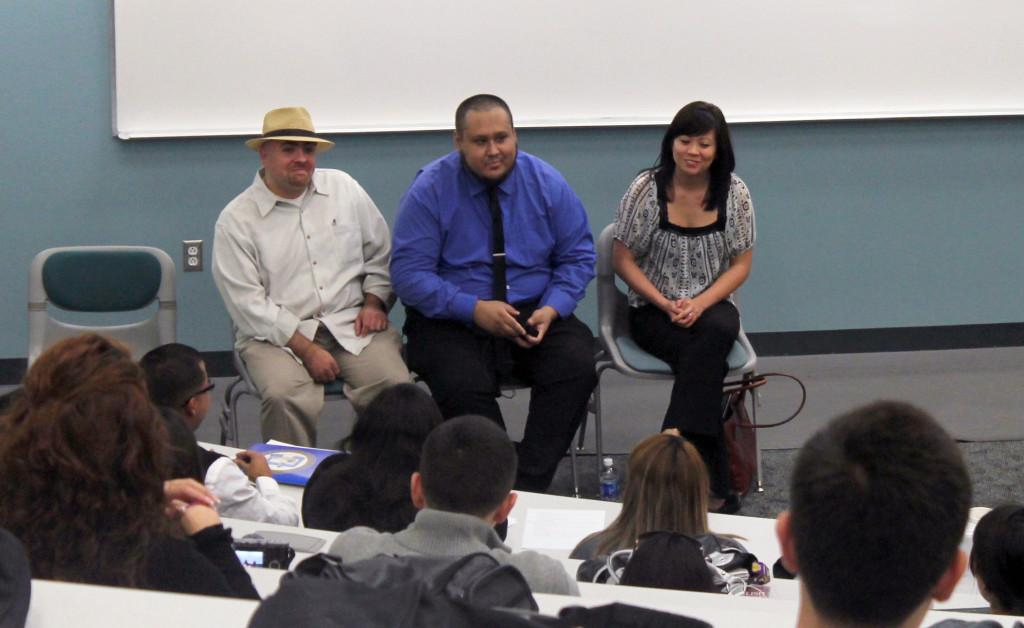 (Left to right) Cerritos College alumni Joaquin Navarro, Jonathan Alvarez, and Jacyln  Ronquillo talk about their transfer experiences to universities. The event was held on Tuesday and the Science Building  in room 201