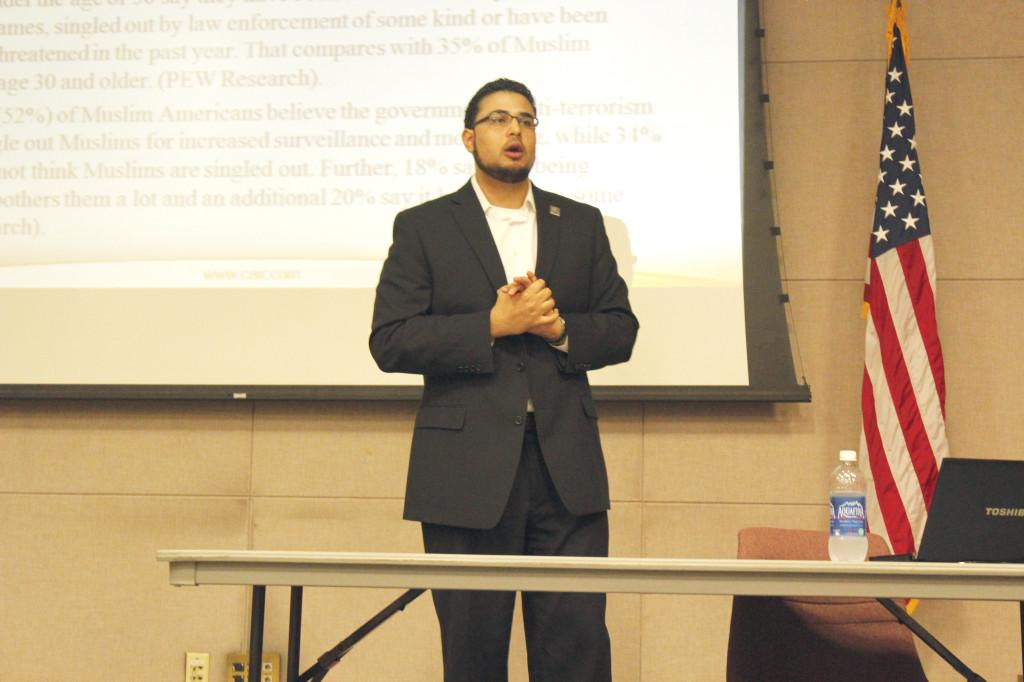 Adel Syed from the Council on American-Islamic Relations (CAIR) gives a presentation for Muslim Student Association Club called