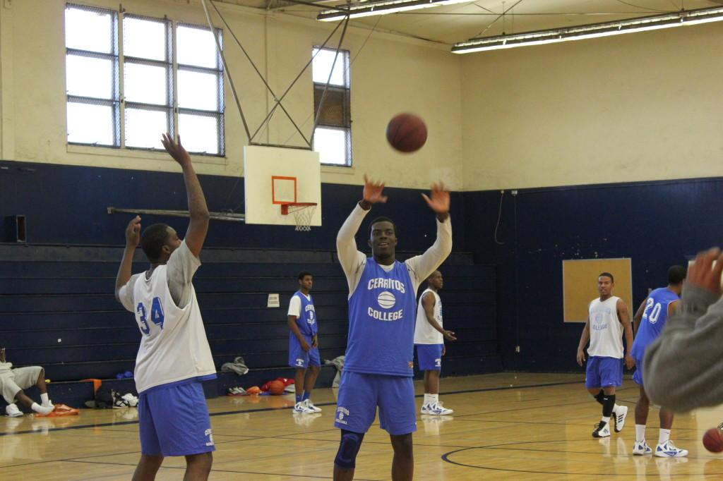 Center Isaac Okebiorun works on drills during practice. Okebiorun moved from Germany to California to pursue a basketball career.