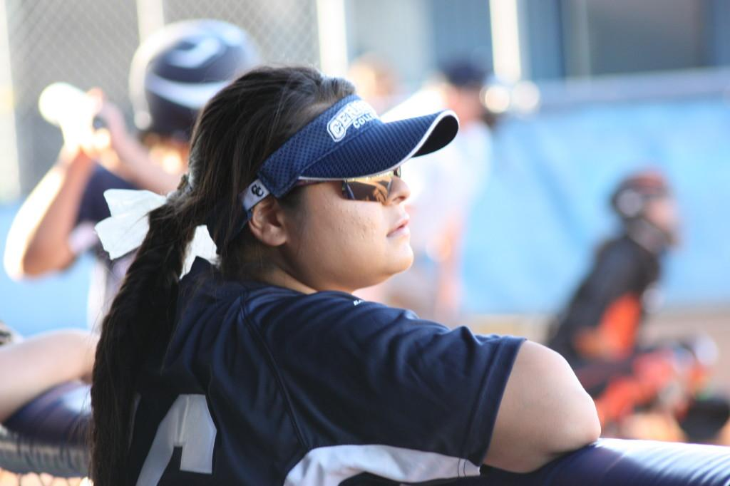 No. 16 Lauren Castrellon watching the opposing pitcher before her at-bat. Lauren is 12th in single season RBI for Cerritos College Softball.
