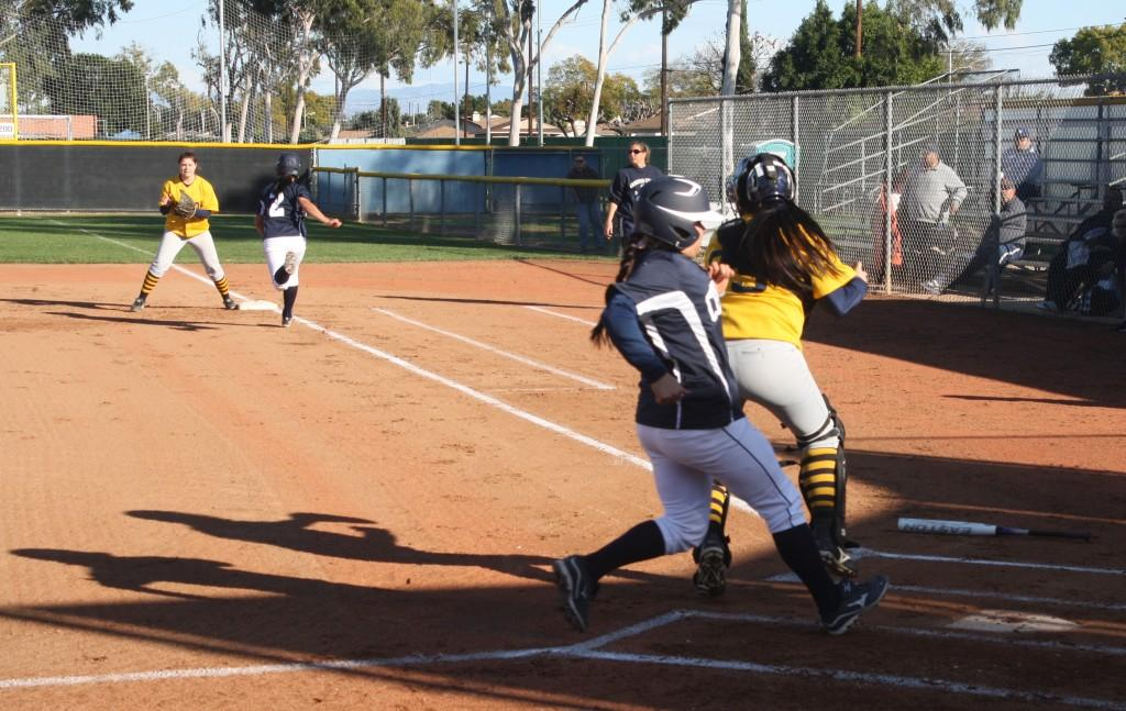 Lauren Castrellon scores on a single by Briana Quintana. Cerritos College went on to win L.A. Harbor 9-1.