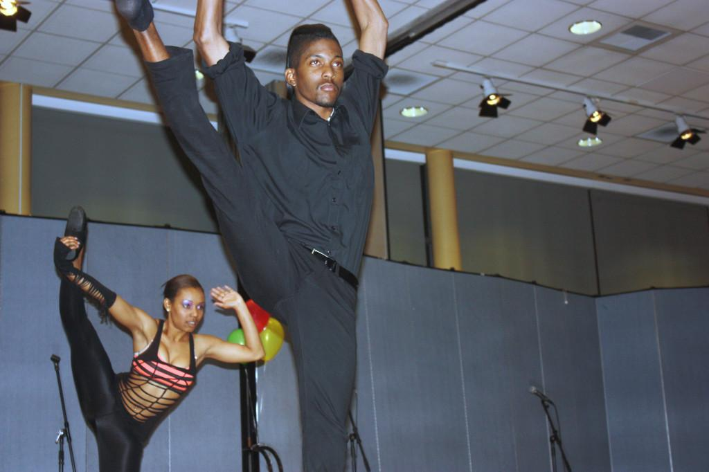 Two out of five members of 'Authentic' dance group at the BSU tribute to Whitney Houston on Feb. 24 at the Student Center. The group preformed a hip-hop and modern dance that led them to win second place, with $60.