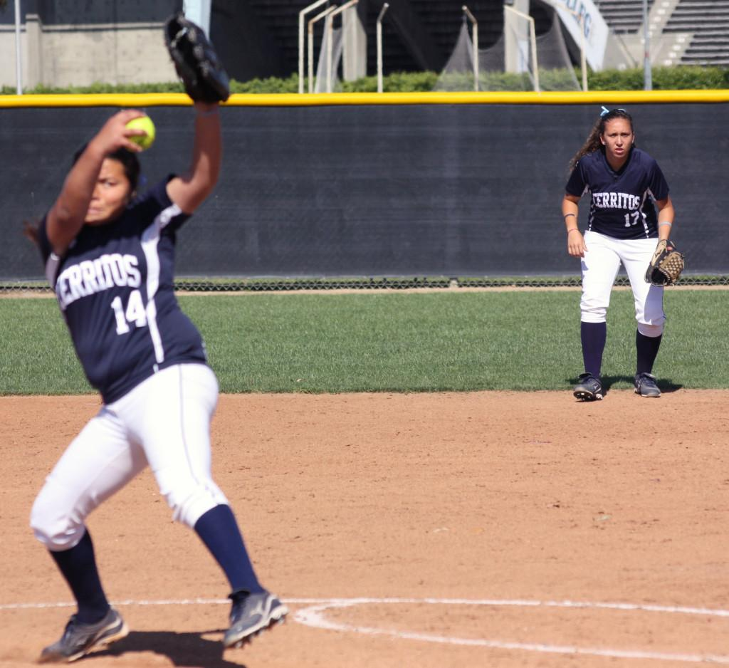 Second baseman Alexxa Sanabria awaits the pitch from pitcher Lily Cornejo.