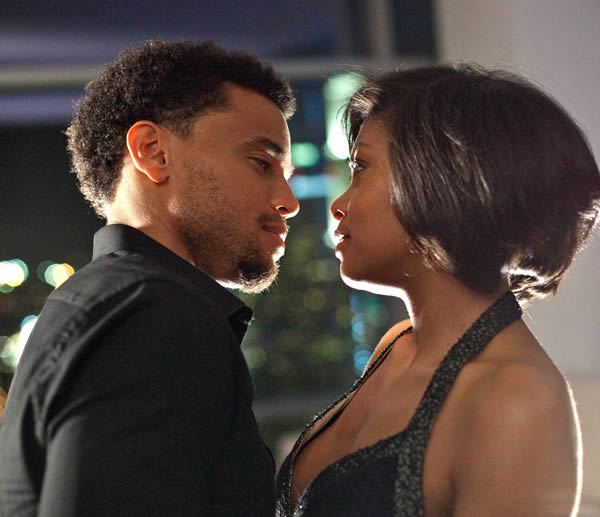 Think Like a man's Michael Ealy and Taraji P Henson embrace