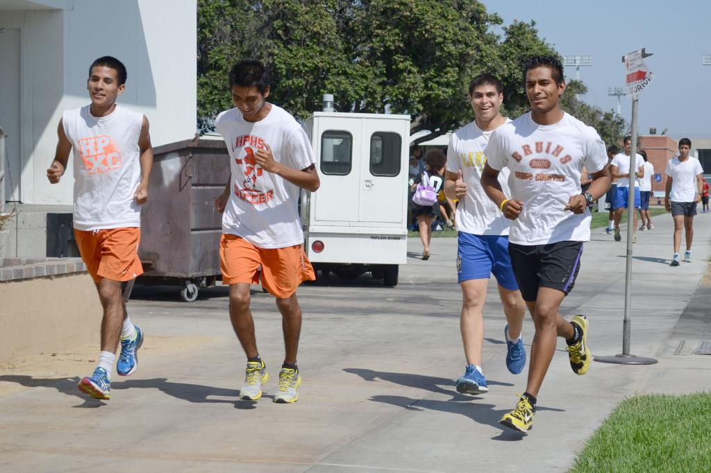Cerritos College Cross Country athletes start one of their final practice runs in preparation for the Orange Coast Cross Country Southern California Championship Preview on Saturday and Sunday, Sept. 15-16. The team has been running 50 to 70 miles per week to get ready for the meet.