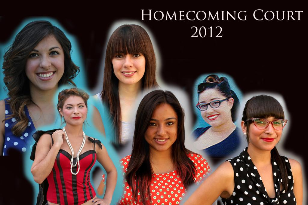 2012 Homecoming Court Lauren Gandara (top left), Brittany Forsythe (top middle), Zineb Fikri (top right), Geovana Sarmiento (bottom left) Kenia Avalos (bottom Middle), Amber Rose Belmontw (bottom left), not shown MarJona Smith-Holieway.