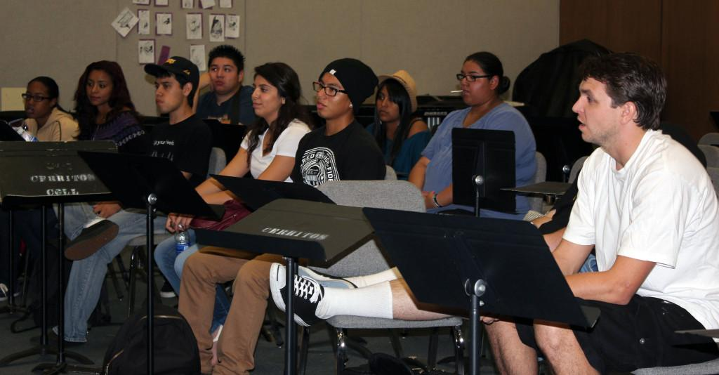 Members of the music club having their first meeting on Sep. 6.