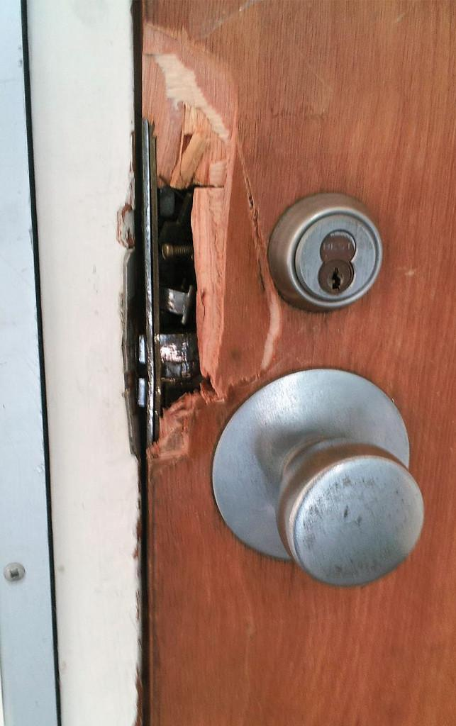 Unknown burglars broke off part of the wood to the Newsroom door in order to gain entry early Monday morning. After gaining entry, two computers were stolen from the classroom.