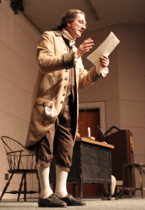 "Trained actor from the London at the Royal Academy of Dramatic Art, Ian Ruskin, performing his one-man play ""To Begin the World Over Again: The Life of Thomas Paine."" Ruskin performed at the Teleconference Center on Oct. 10."