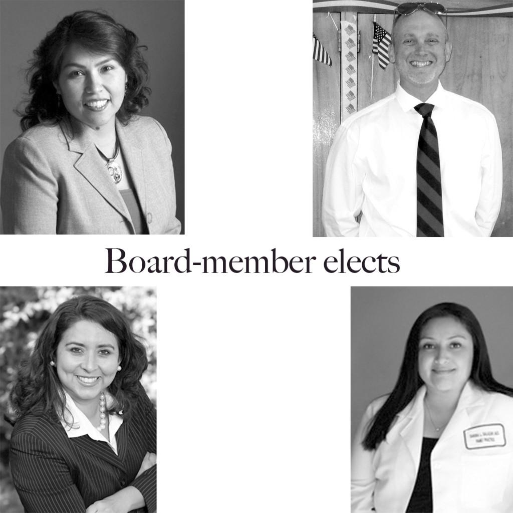 Carmen Avolos, John Paul Drayer, Marisa K. Perez and Sandra Salazar the board-member elects