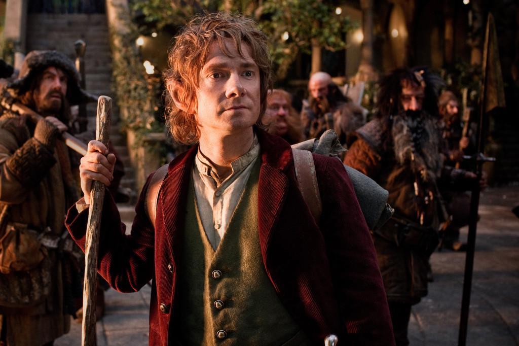 James Nesbitt as Bofur, Martin Freeman, front, as Bilbo Baggins, Stephen Hunter as Bombur, Graham McTavish as Dwalin, William Kircher as Bifur, and Jed Brophy as Nori in the fantasy adventure