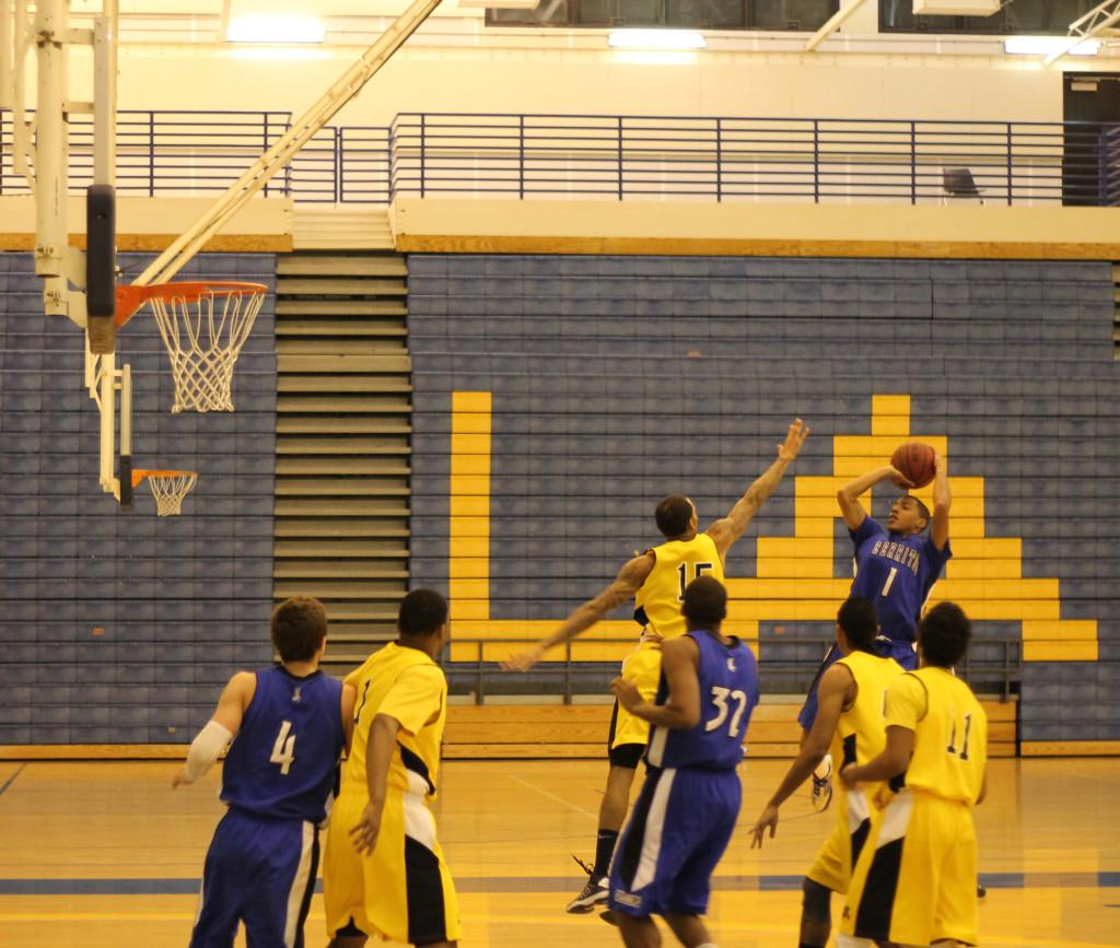 Anthony Holliday attempts a shot. Cerritos College defeated Los Angeles Southwest College 73-66 on Wednesday Jan. 23.