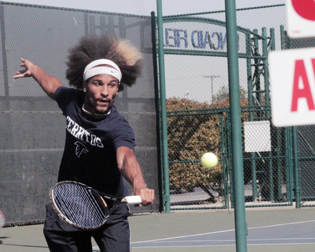 Sophomore Todd Jenkins during a match in which he defeated Alan Tang of El Camino College last Thursday. Jenkins won the match 6-3, 6-1.