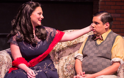 Kelsey England (Amanda) speaks with Matthew Cruz (Lawrence) in 'For Whom the Southern Belle Tolls.'
